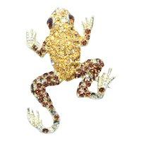 Vintage Costume Rhinestone Frog Brooch