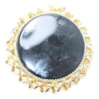 Vintage 12KT Gold Filled Black Onyx Round Brooch