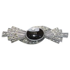 Vintage Sterling Silver Oval Black Onyx Marcasite Brooch