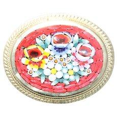 Vintage Floral Mosaic Oval Brooch