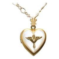 Vintage 12KT Gold Filled Mother of Pearl Heart Locket Necklace