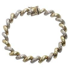 14 KT Two Tone Gold Macaroni Bracelet