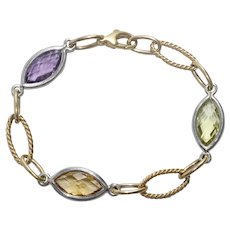 14 KT Two Tone Gold Bracelet With Peridot, Yellow Citrine, and Amethyst