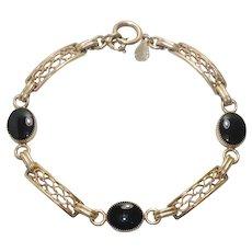12 KT Gold Filled Black Onyx Bracelet