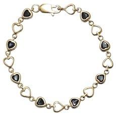 14 KT Yellow Gold Black Onyx Heart Bracelet