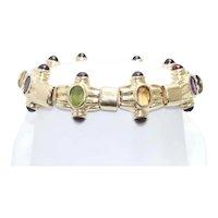 14 KT Yellow Gold Multi-Gemstones Bracelet