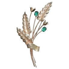 Sterling Silver Floral Bouquet of Persian Green Zircon  Brooch