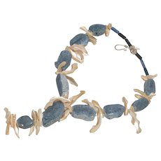 Designed Handmade Mother Of Pearl And Blue Coral Stone Necklace