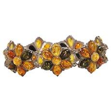 Vintage Sterling Silver Baltic Amber Bracelet