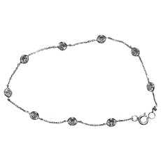 14 KT White Gold Cubic Zirconia By The Yard Bracelet