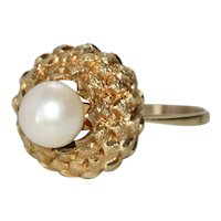 Vintage 18K Yellow Gold Cultured Pearl Dome Ring