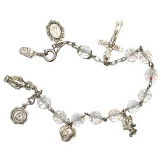 Sterling Silver Crystal Chained Religious Rosary Bracelet