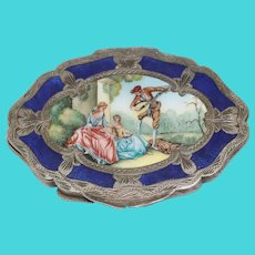 Victorian 800 Sterling Silver Enamel Hand Painted Mirror