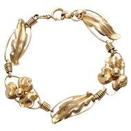 Vintage 10K Yellow Gold Floral Regal Bracelet