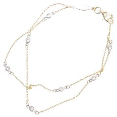 14K Two Toned Double Stranded By The Yard Cubic Zirconia Bracelet