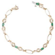 14K Yellow Gold Diamond Oval Cut Emerald Bracelet