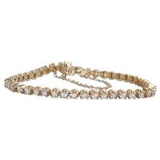14K Yellow Gold 2.64 CT Round Cut Diamond Tennis Bracelet