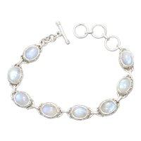 Sterling Silver Oval Bezel Set Beaded Bracelet