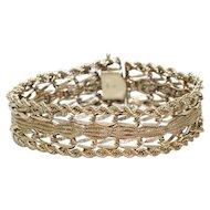 Vintage 14K Yellow Gold Threaded Charm Bracelet