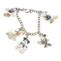 Vintage Costume Disney Mickey Mouse Characters Charm Bracelet