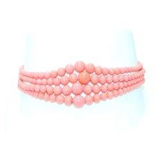 Vintage Tapered Pink Coral Cubic Zirconia Beaded Bracelet