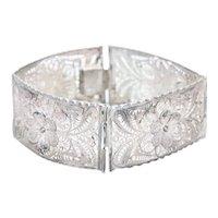 Vintage Sterling Silver Filigree Floral Link Bracelet