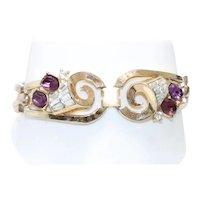 Trifari Vintage Costume Amethyst Cubic Zirconia Bracelet