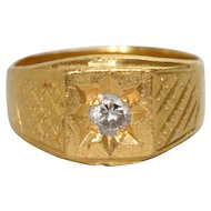 Vintage Oriental 24K Yellow Gold Ring