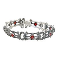 Vintage Sterling Silver Garnet Marcasite Link Bracelet