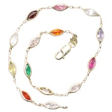 Vintage 14KT Yellow Gold Marquise Multi Stone Bracelet