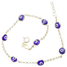 Vintage 14KT Yellow Gold Glass Dark Blue Evil Eye Cable Chain Bracelet