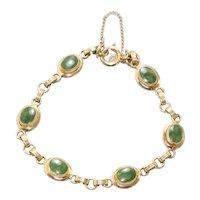 Sarah Cov Vintage 12KT Gold Filled Jade Link Bracelet
