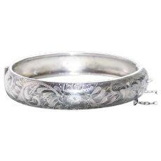 Vintage Sterling Silver Flower Etched Bangle Bracelet