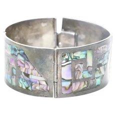 Vintage Sterling Silver Mother of Pearl Greek Key Bracelet