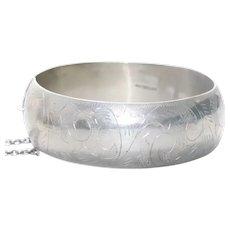 Vintage Sterling Silver Swirl Bangle Bracelet