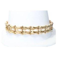 Vintage 18KT Yellow Gold Geometric Link Bracelet