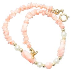 Vintage Coral Synthetic Pearl Beaded Bracelet