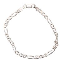 Vintage Sterling Silver Figaro Gucci Chain Bracelet