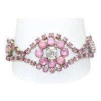 Vintage Costume Pink Rhinestone Bracelet