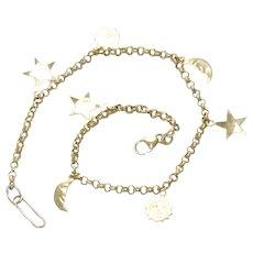 10KT Yellow Gold Sun Moon Star Charm Ankle Bracelet