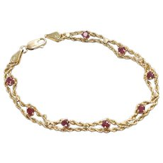 14K Yellow Gold Ruby Rope Bracelet