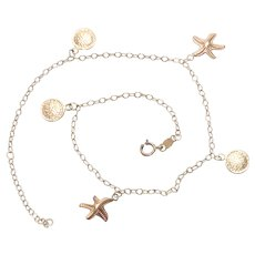 10KT Yellow Gold Shell Charm Ankle Bracelet