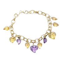 Vintage 14KT Yellow Gold Amethyst Citrine Hearts Cable Chain Bracelet