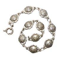Vintage Sterling Silver Rose Link Bracelet