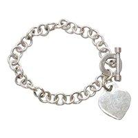 Vintage Sterling Silver Heart Rolo Chain Bracelet