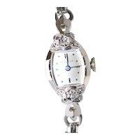 Vintage Bulova 14KT White Gold Square Watch Face 10KT White Gold Stretch Band Wristwatch 13482