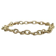 Italian Roller Linked 14k Gold overlay Sterling Silver Charm Bracelet
