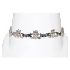 14 KT White Gold Claddagh Bracelet