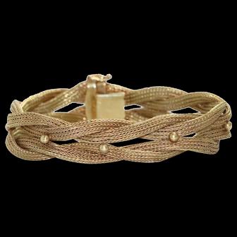 Vintage 14K Yellow Gold Threaded Mesh Bracelet