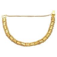 Vintage Oriental  24K Yellow Gold Beaded Bracelet